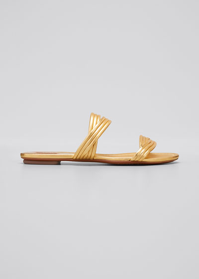 Twisted Metallic Leather Slide Sandals