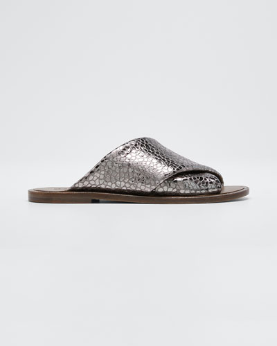 Flat Textured Leather Slide Sandals