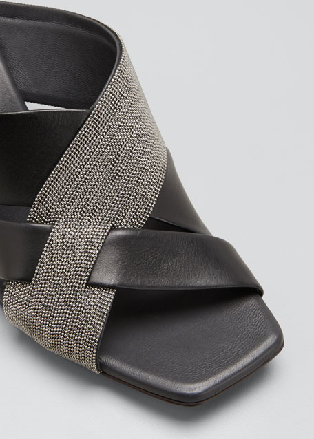 60mm Leather City Slide Sandals with Monili Cross