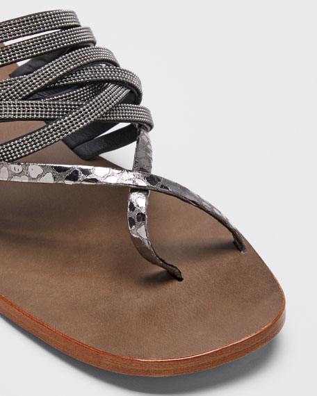 Textured and Monili Sandals