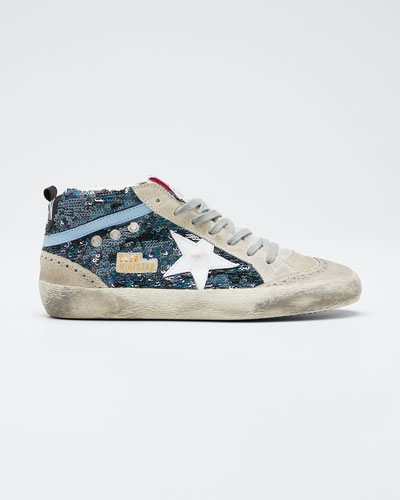 Mid-Star Lace-Up Sequin Sneakers
