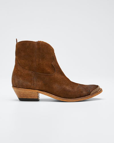 Young Suede Cap-Toe Western Booties