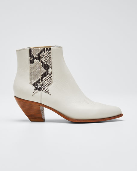 Sunset Snake-Print Leather Booties