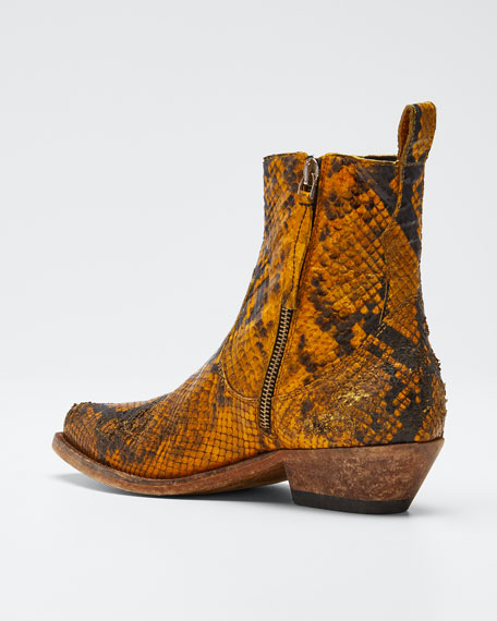 Santiago Snake-Print Leather Booties
