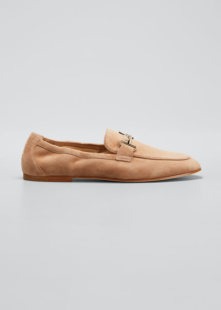 Double-T Scrunched Suede Loafers