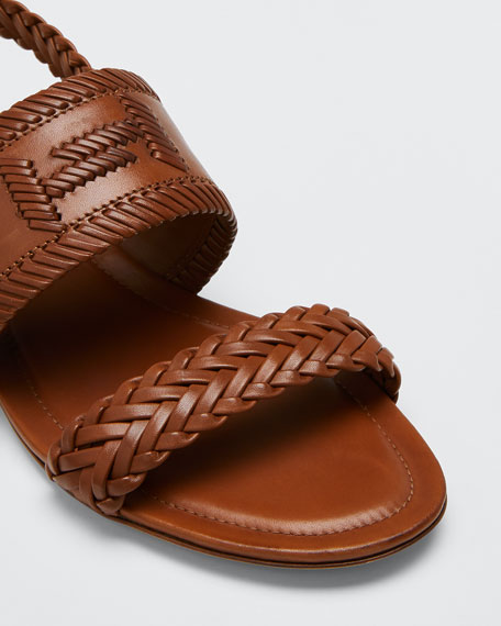 Selleria Woven Flat Sandals, Brown