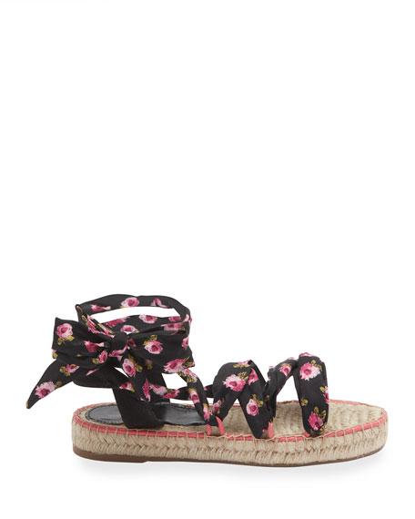 Floral Scarf-Tie Espadrille Sandals
