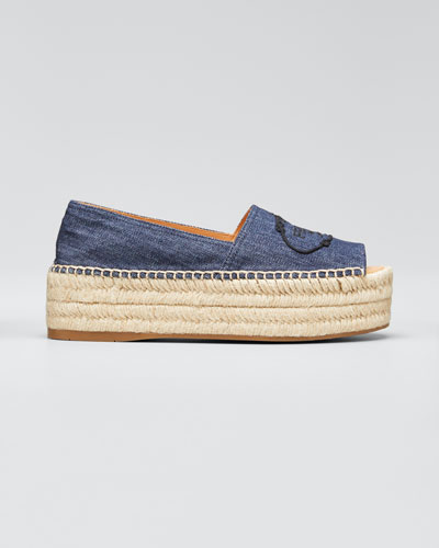 Denim Logo Espadrille Loafers