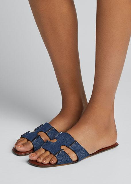 Denim Double-Strap Flat Slide Sandals
