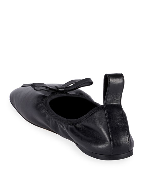 Soft Napa Bow Ballet Flats, Black