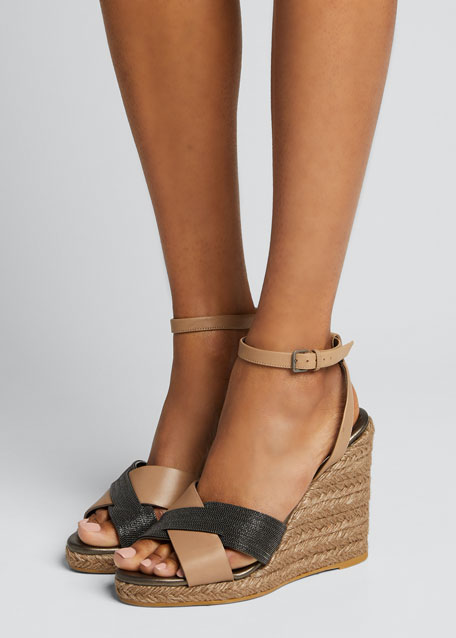 Monili Leather Wedge Espadrille Sandals
