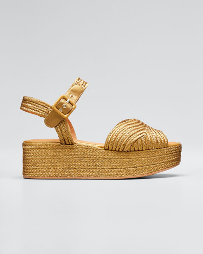 Aruba Metallic Woven Platform Sandals