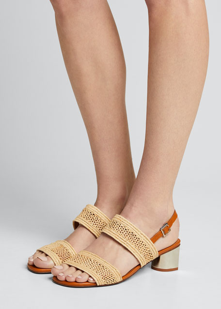 Leane Raffia Metallic-Heel Sandals