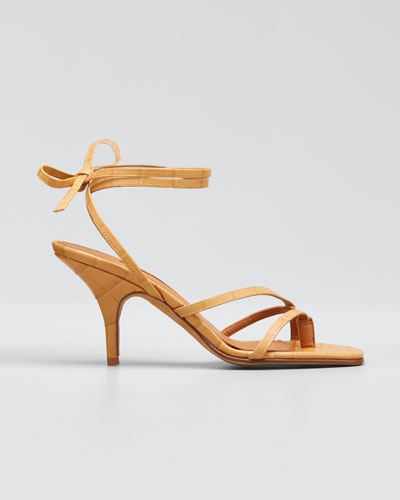 Jamie Ankle-Tie Leather Thong Sandals
