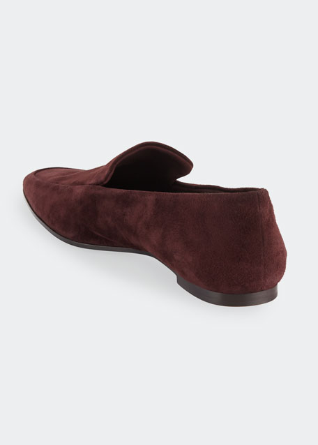 Minimal Flat Suede Loafers