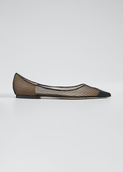 Love Leather Net Ballerina Flats