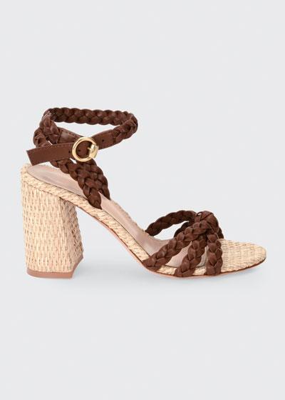 85mm Raffia Block-Heel Sandals