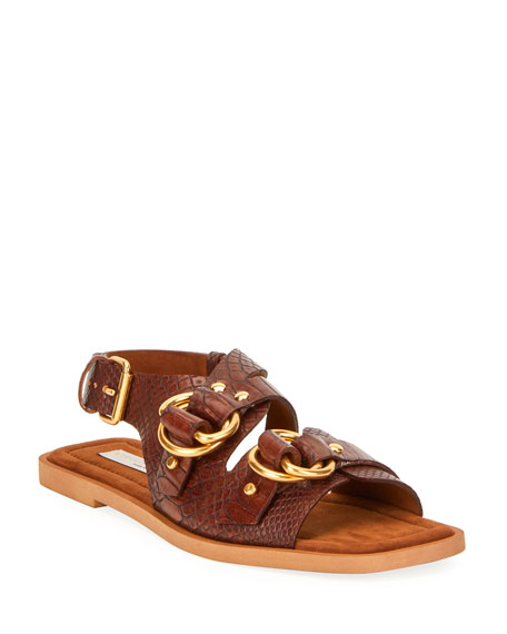 Image 1 of 1: Faux Croc Flat Sandals