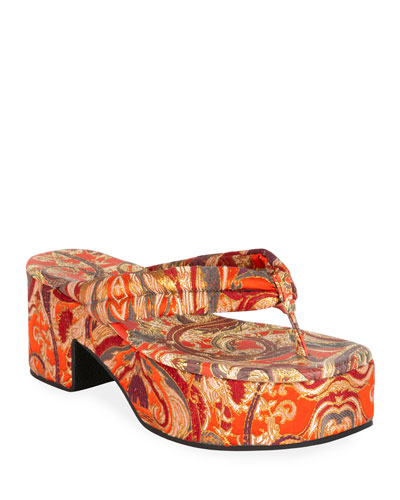 Platform Fabric Thong Sandals