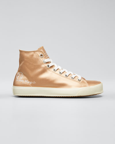 Tabi Split-Toe Satin High-Top Sneakers