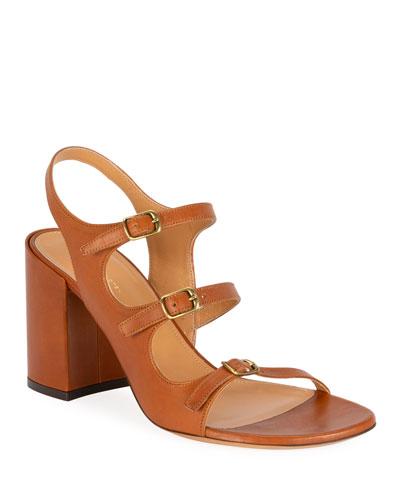 Three-Strap Block-Heel Sandals