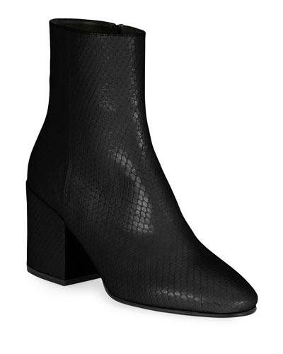 Snake-Print Leather Block-Heel Booties