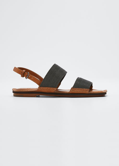 Image 1 of 1: Lissato Calfskin Monili Crystal Flat Sandals