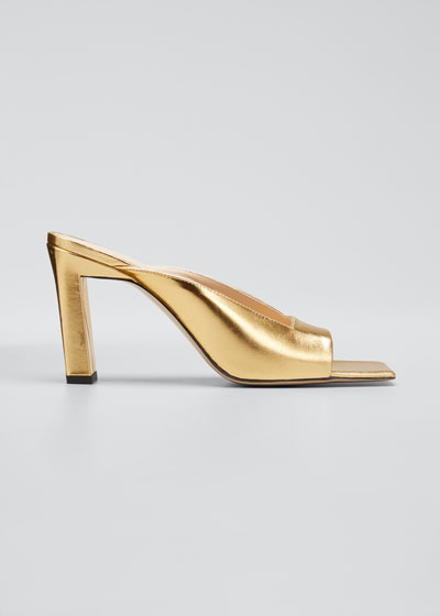 Isa Metallic Leather Slide Sandals