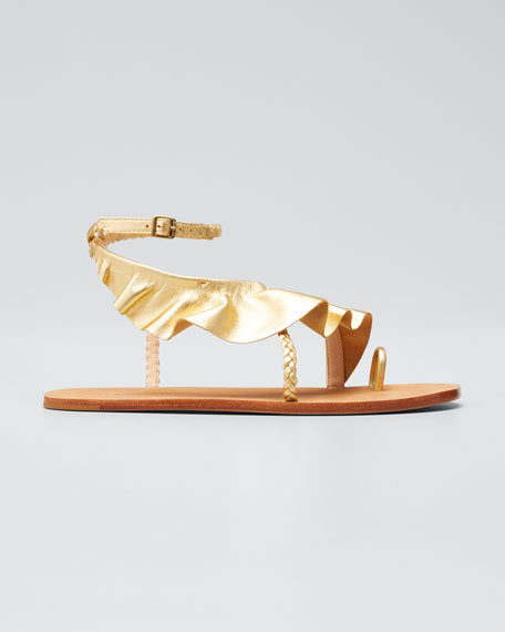 Daria Metallic Ruffle Ankle-Strap Sandals