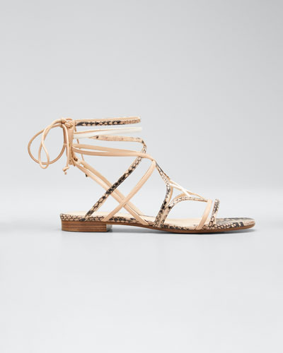 Selina 10mm Snake-Print Sandals