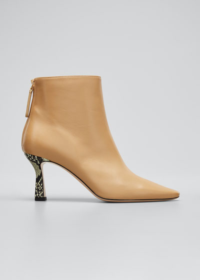 Lina Leather Snake-Heel Booties