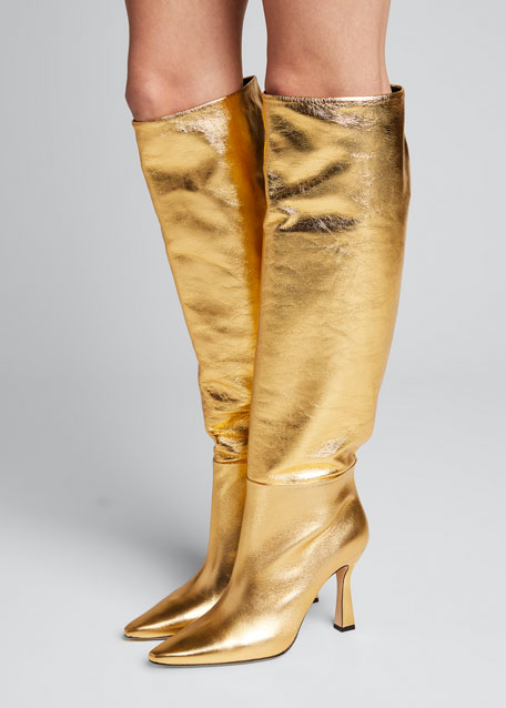 Lina Metallic Leather Tall Boots