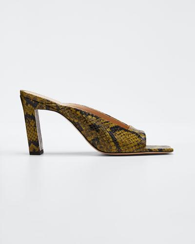 Isa Python-Embossed Sandals