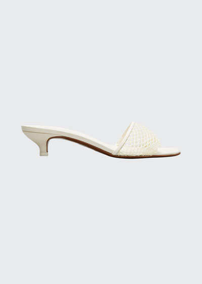 Mormodes Net Kitten-Heel Slide Sandals