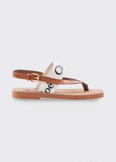 Canvas Logo Thong Sandals