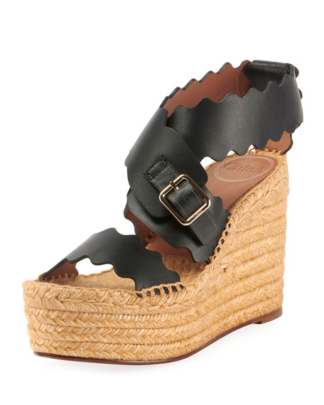 Lauren Scalloped Leather Wedge Espadrilles
