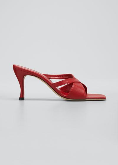Kitty 70mm Leather Crisscross Slide Sandals