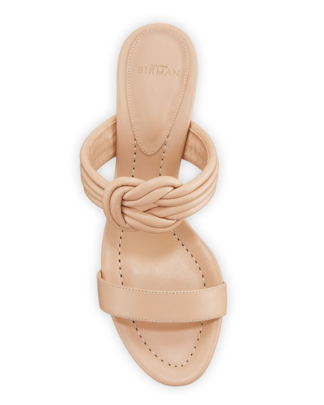 Vicky Knotted Leather Block-Heel Sandals