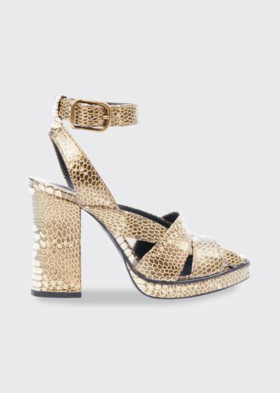 Daisy Snake-Print Leather Platform Sandals