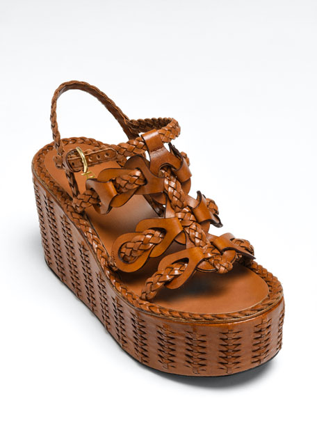95mm Woven Platform Wedge Sandals