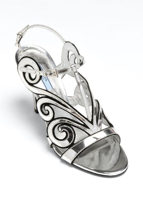 90mm Metallic Art Deco Cage Sandals