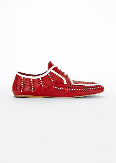 Bicolor Woven Leather Lace-Up Loafers