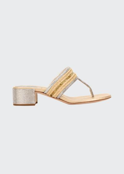 40mm Satin Juta Strass Block-Heel Thong Sandals