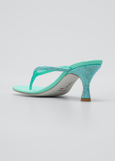 65mm Studded Satin Thong Sandals