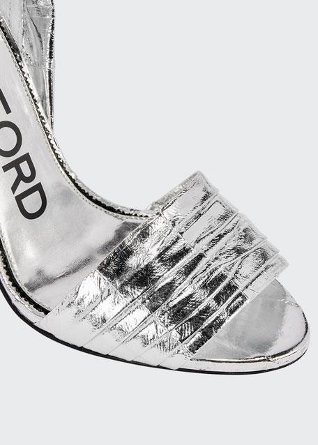 105mm Metallic Eel Ankle-Wrap Sandals