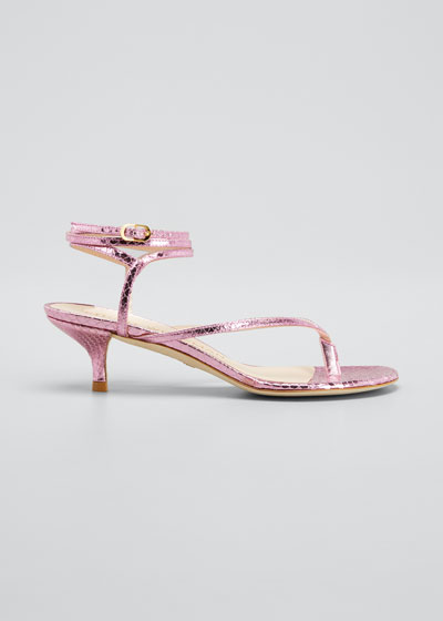 Jimena Metallic Kitten-Heel Thong Sandals