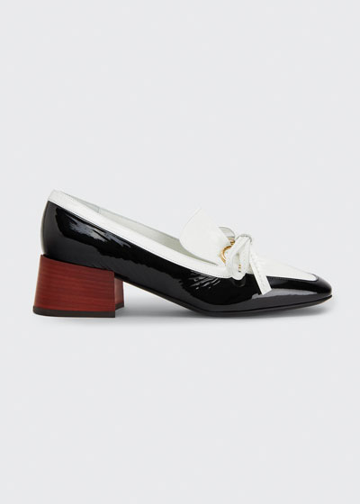 Two-Tone Leather Bow Loafers