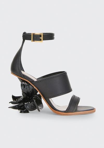 Flower Heel Ankle Sandals