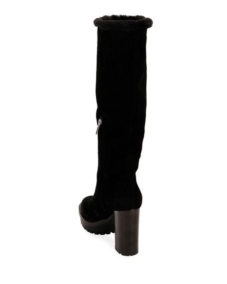 Suede Block-Heel Lined Knee Boots