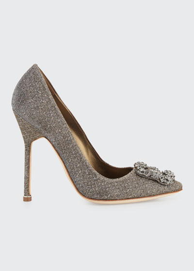 Hangisi Crystal-Buckle Shimmery 115mm Pumps